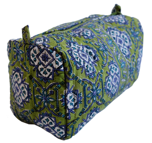 "Hand Block Printed Toiletries Bag - Sevilla Kiwi - Medium 8""L x 6""H x 4""D - Anokhi"