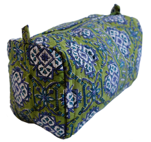 Load image into Gallery viewer, Hand Block Printed Toiletries Bag - Kiwi Lime - Various Sizes - Inkandblock