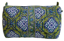 "Load image into Gallery viewer, Hand Block Printed Toiletries Bag - Sevilla Kiwi - Medium 8""L x 6""H x 4""D - Anokhi"