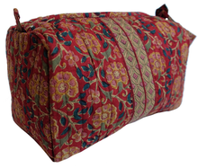 "Load image into Gallery viewer, Hand Block Printed Toiletries Bag - Bloom Red - Medium 8""L x 6""H x 4""D - Anokhi"