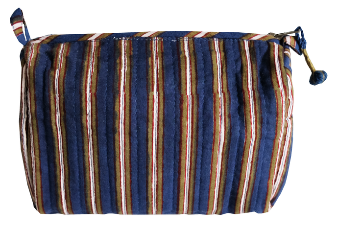Hand Block Printed Toiletries Bag - Oxford Stripe - Anokhi