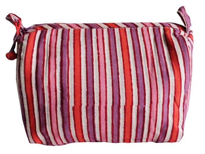 Hand Block Printed Toiletries Bag - Sherbet Stripe - Anokhi