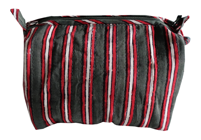 Hand Block Printed Toiletries Bag - Cambridge Stripe - Various Sizes - Anokhi