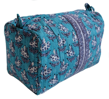 "Load image into Gallery viewer, Hand Block Printed Toiletries Bag - Lily Butah - Medium 8""L x 6""H x 4""D - Anokhi"