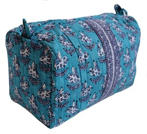 "Hand Block Printed Toiletries Bag - Lily Butah - Medium 8""L x 6""H x 4""D - Anokhi"