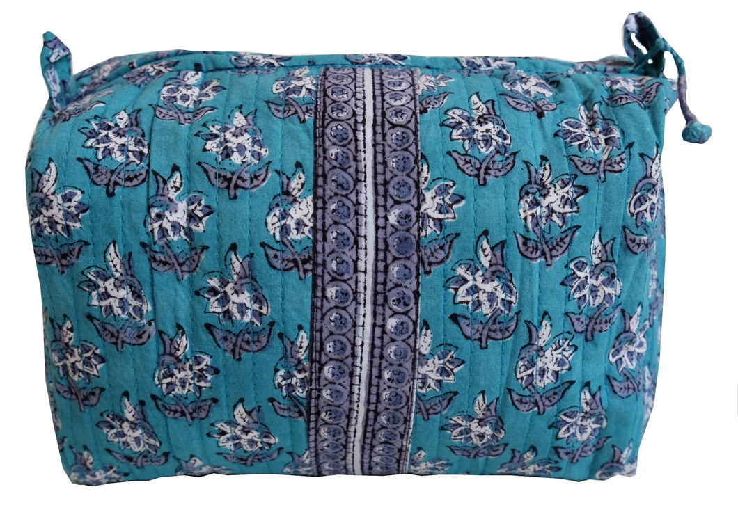 Hand Block Printed Toiletries Bag - Lily Butah - Medium 8