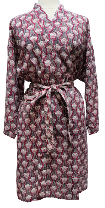 Short Cotton Robe - Pentalisa Stripe - free size - Anokhi