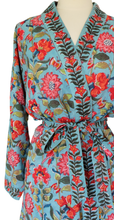 Load image into Gallery viewer, Short Robe - Samode Aqua  - free size - Anokhi