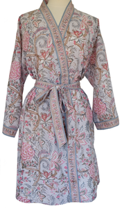 Short Robe - Tree of Life Mist  - free size - Anokhi
