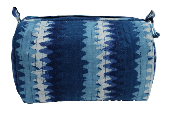 Hand Block Printed Toiletries Bag - Zigzag Indigo