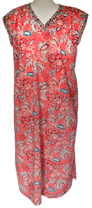 Cap sleeved Nightdress - Bali Flower Coral - 100% Cotton - Anokhi