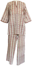 Load image into Gallery viewer, Cotton Pajamas, Calico Stripe - Anokhi