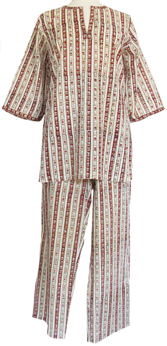 Cotton Pajamas, Calico Stripe - Anokhi