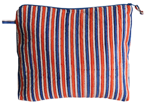 Hand Block Printed Toiletries Bag - Carnival Stripe - Two sizes - Anokhi