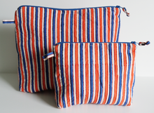 Load image into Gallery viewer, Hand Block Printed Toiletries Bag - Carnival Stripe - Two sizes - Anokhi