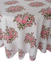 "Load image into Gallery viewer, Round Hand Block Printed Tablecloth  - Bouquet Rose - Diameter 68"" - Anokhi"