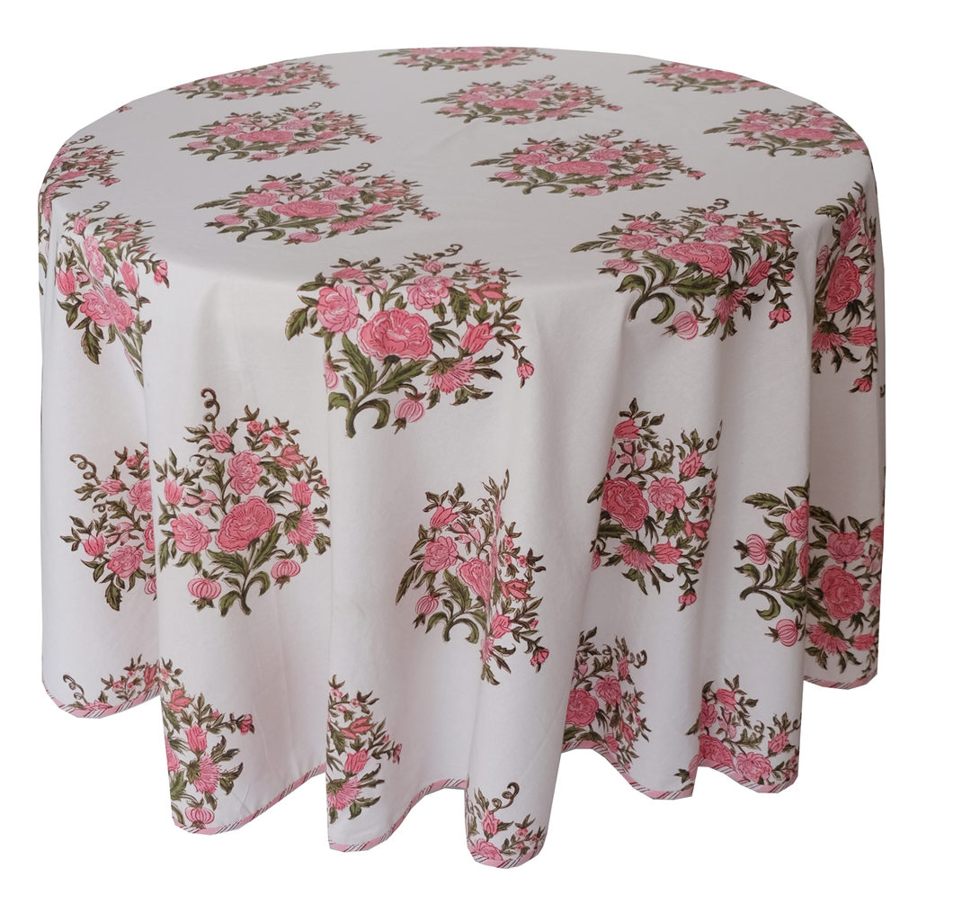 Round Hand Block Printed Tablecloth  - Bouquet Rose - Diameter 68