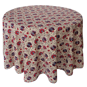 "Round Hand Block Printed Tablecloth  - Kwali Flower - Diameter 68"" - Anokhi"