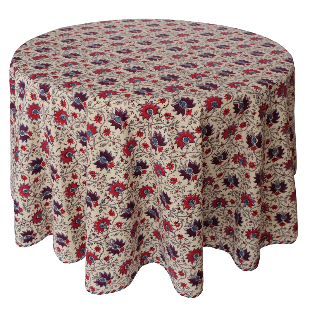 Round Hand Block Printed Tablecloth  - Kwali Flower - Diameter 68