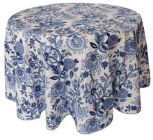 "Load image into Gallery viewer, Round Hand Block Printed Tablecloth  - Norjahan Blue - Diameter 68"" - Anokhi"
