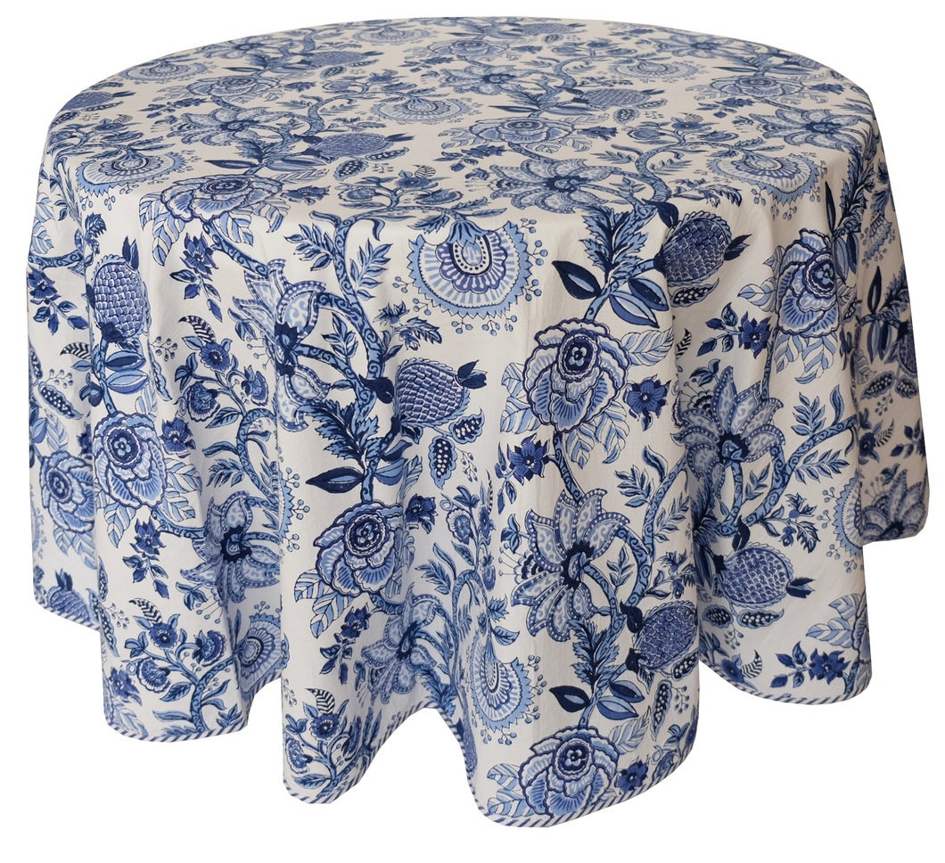 Round Hand Block Printed Tablecloth  - Norjahan Blue - Diameter 68