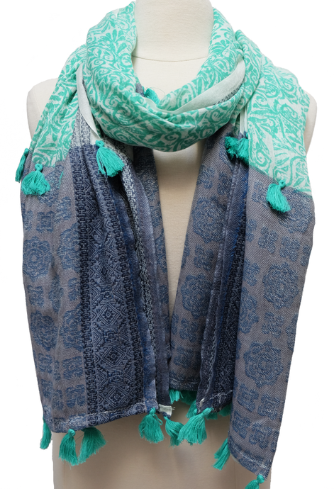 Large Hand Block Printed Scarf - Baroque Emerald - 38