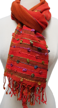 "Load image into Gallery viewer, Large Hand Woven Cotton Scarf - Ruby - 28"" x 72"" - cotton"