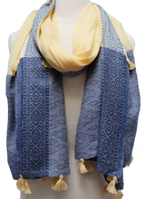 "Load image into Gallery viewer, Large Hand Block Printed Scarf - Dash Primrose - 38"" x 76"" - cotton - Anokhi"