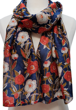 "Load image into Gallery viewer, Hand Block Printed Scarf - Poppyfield Navy - 15.5"" x 72"" - cotton/silk - Anokhi"