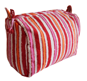 Hand Block Printed Toiletries Bag - Red Stripe - Anokhi