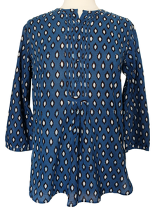 Hand block printed smock top - Jai Buti Indigo - 100% Cotton - Anokhi