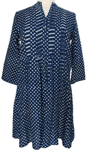 Load image into Gallery viewer, Hand block printed smock top - Indigo Spot - Anokhi