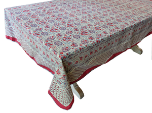 "Hand Block Printed Tablecloth  - Kwali Flower - 108"" x 70"" - Anokhi"