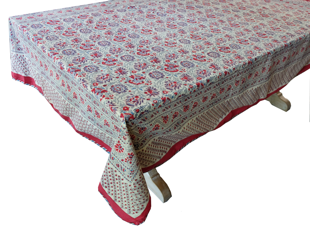 Hand Block Printed Tablecloth  - Kwali Flower - 90