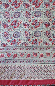 "Hand Block Printed Tablecloth  - Kwali Flower - 90"" x 60"" - Anokhi"