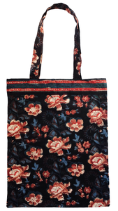 Cotton tote bag - Rose Charcoal - Anokhi