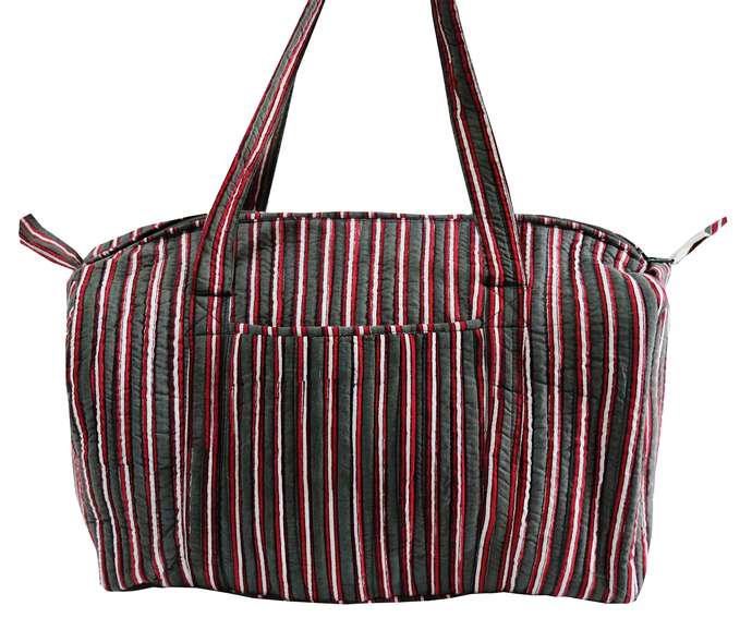 Quilted Travel Bag - Cambridge Stripe - 100% Cotton