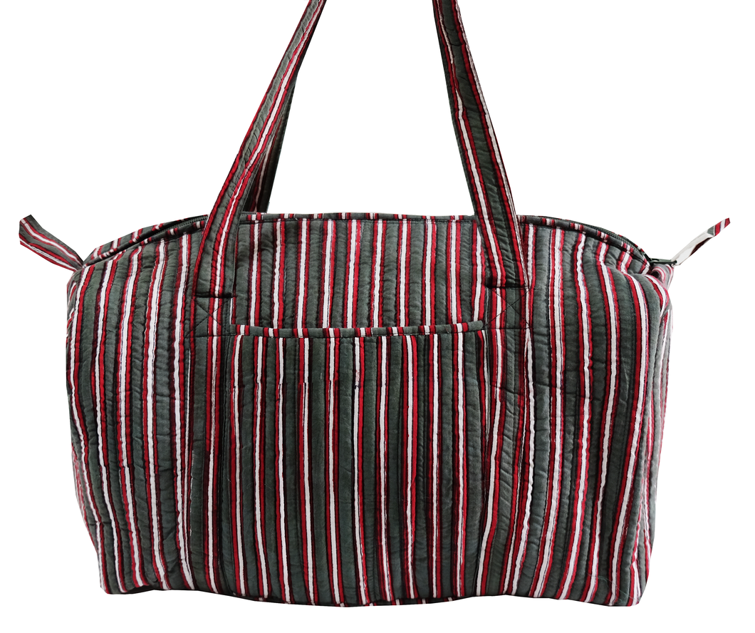 Quilted Travel Bag - Cambridge Stripe - 100% Cotton - Anokhi