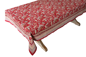 "Hand Block Printed Tablecloth  - Madurai Red - 90"" x 60"" - Anokhi"