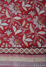 "Load image into Gallery viewer, Hand Block Printed Tablecloth  - Madurai Red - 90"" x 60"" - Anokhi"