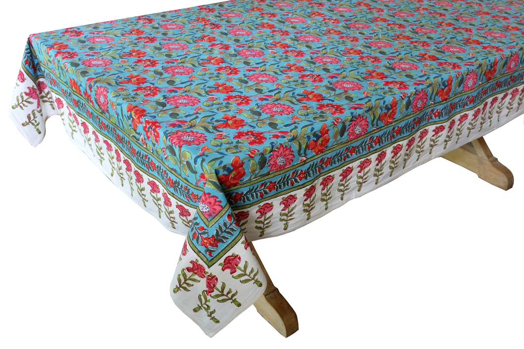 Hand Block Printed Tablecloth  - Samode Turquoise - 90