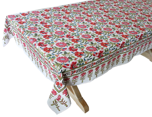 "Hand Block Printed Tablecloth  - Samode White - 90"" x 60"" - Anokhi"