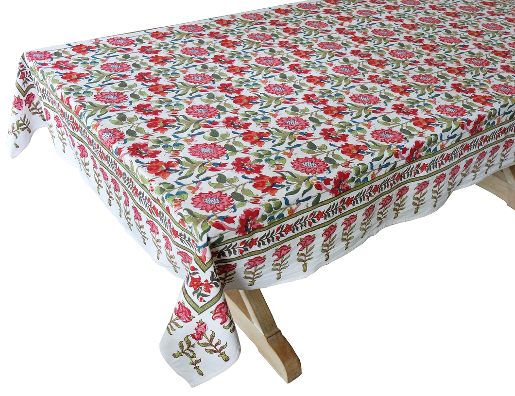 Hand Block Printed Tablecloth  - Samode White - 90