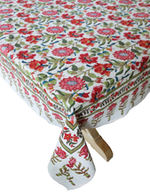 "Load image into Gallery viewer, Hand Block Printed Tablecloth  - Samode White - 90"" x 60"" - Anokhi"