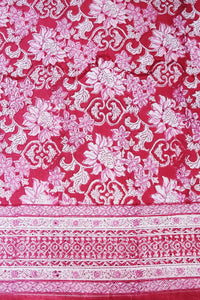 "Hand Block Printed Tablecloth  - Dahlia Crimson - 108"" x 70"" - Anokhi"