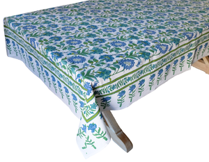 "Hand Block Printed Tablecloth  - Samode Emerald - 108"" x 70"" - Anokhi"