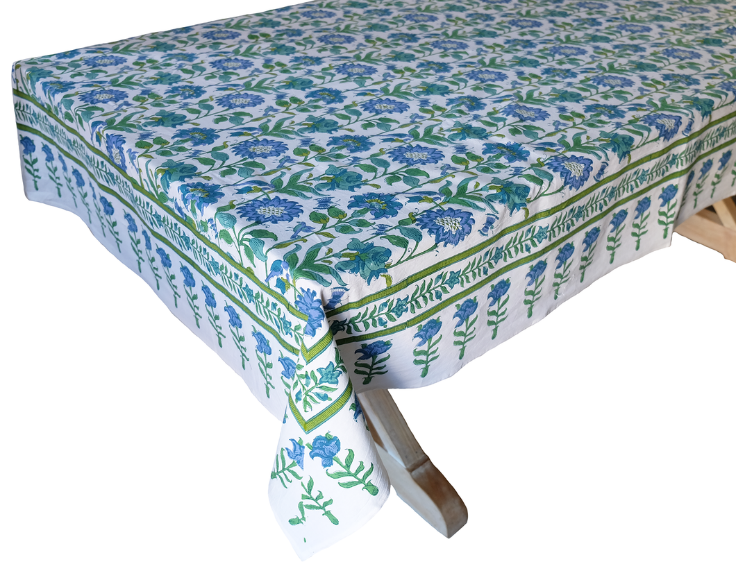 Hand Block Printed Tablecloth  - Samode Emerald - 108