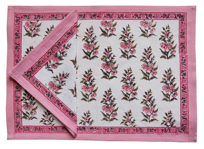 Printed Placemat and Napkin set: Safflower Pink - 8 pieces, 100% cotton