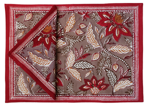 Cotton Placemats and Napkins, set of 8 - Bali Flower - Anokhi