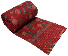 Load image into Gallery viewer, Twin Quilt -  Poppy Red - 100% cotton, reversible quilt. - Anokhi